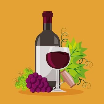 Botella de vino copa sacacorchos racimo uvas frescas