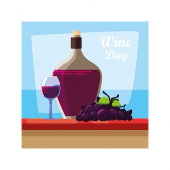 Botella de vino con copa de vino, etiqueta del día del vino