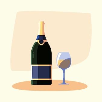 Botella de vino y copa