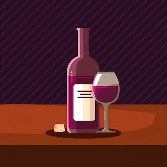 Botella de vino corcho y copa