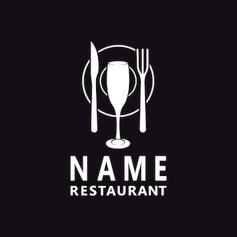 Botella de vino cuchara tenedor placa cuchillo vidrio para cenar restaurante diseño de logotipo