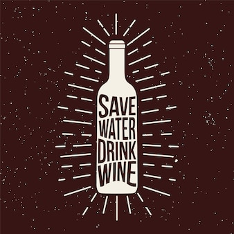 Botella de vino con estampado grunge.