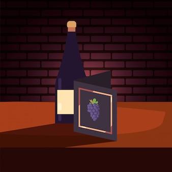 Botella de vino y menú