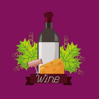 Botella de vino queso sacacorchos y hojas