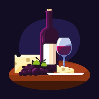 Botella de vino queso uvas y copa