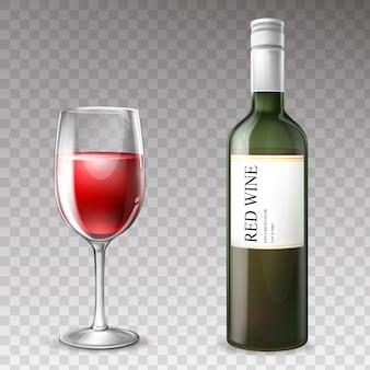 Botella de vino realista 3d con copa de vino