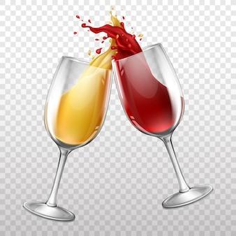 Botella de vino realista, chapoteando en copa de vino.