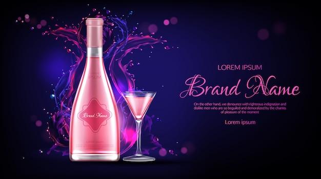 Botella de vino rosado y banner publicitario promocional de vidrio