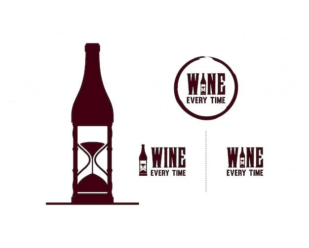 Botella de vino con símbolo de reloj de arena set logo vector