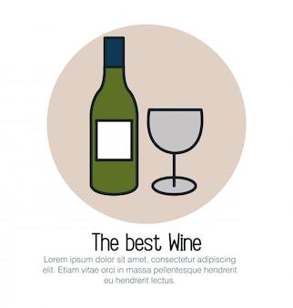 Botella de vino y taza icono aislado