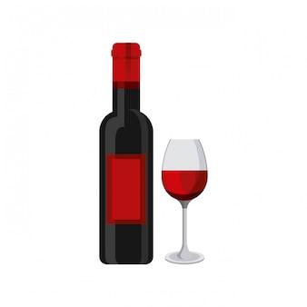 Botella de vino y taza