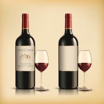 Botella de vino tinto, conjunto de recipiente para bebidas en la ilustración