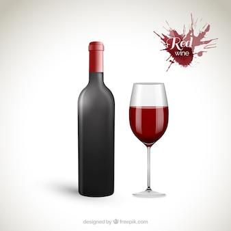 Botella de vino tinto y copa