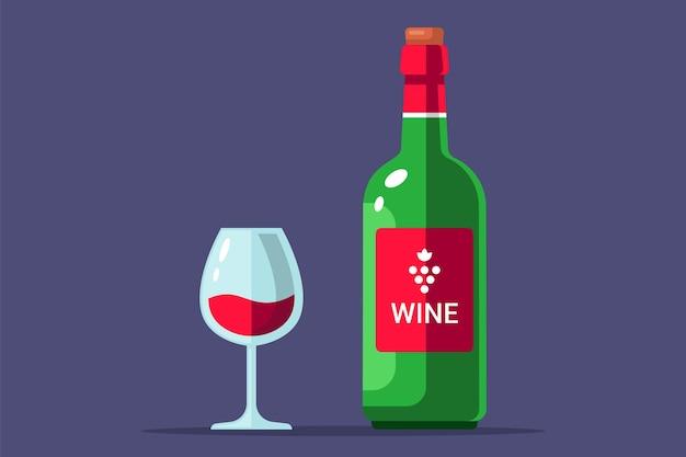 Botella de vino tinto con una ilustración plana de vaso lleno