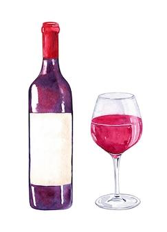 Botella de vino tinto y vidrio aislado en blanco