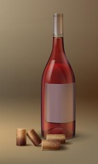 Botella de vino de vector con etiqueta vacía y corcho aislado sobre fondo degradado