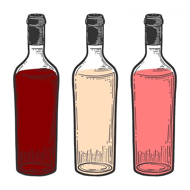 Botella de vino, vidrio.
