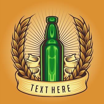 Botella vintage insignia ilustraciones vectoriales para su trabajo logotipo, camiseta de mercancía de mascota, pegatinas y diseños de etiquetas, carteles, tarjetas de felicitación, publicidad de empresas comerciales o marcas.