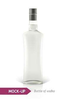 Botella de vodka realista u otra botella de ginebra.