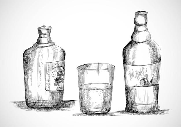 Botella de whisky dibujada a mano con diseño de boceto de vaso para beber