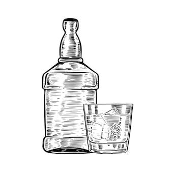 Botella de whisky dibujado a mano con vaso. elemento para cartel, menú. ilustración