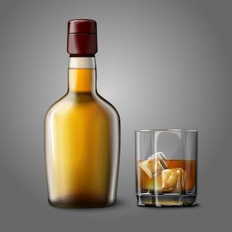 Botella de whisky realista en blanco con vaso de whisky y hielo