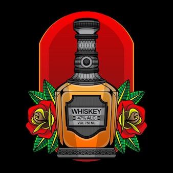 Botella de whisky y rosas