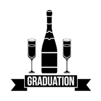 Botella y taza de celebración de la graduación