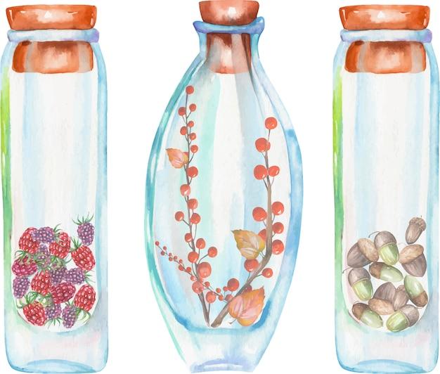 Botellas de acuarela con fresa y frambuesas.