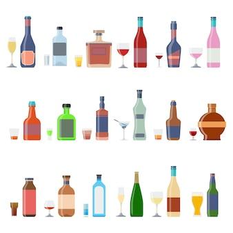 Botellas de alcohol bebidas con vasos conjunto de contenedores de alcohol