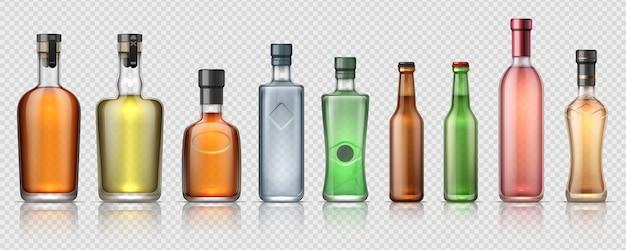 Botellas de alcohol realistas. recipientes de vidrio transparente para whisky, tequila, vermú