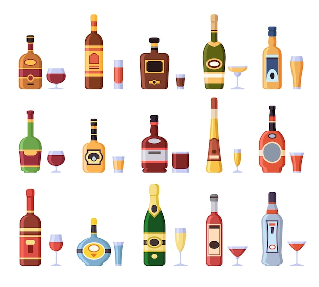 Botellas de alcohol y vasos. botella alcohólica con sidra, vermut en vaso o licor shot y copas conjunto aislado