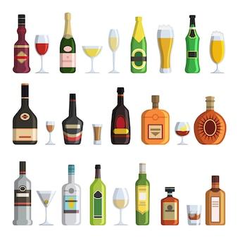 Botellas alcohólicas y vasos en estilo de dibujos animados
