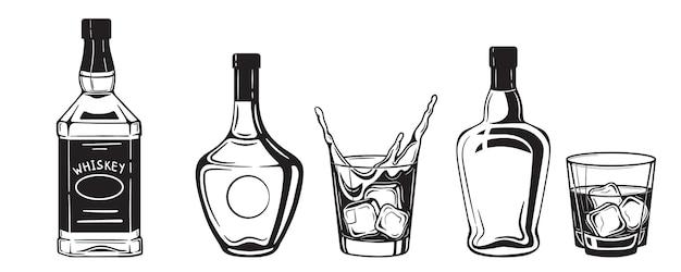 Botellas de bebidas alcohólicas grabado estilo vintage en blanco y negro.