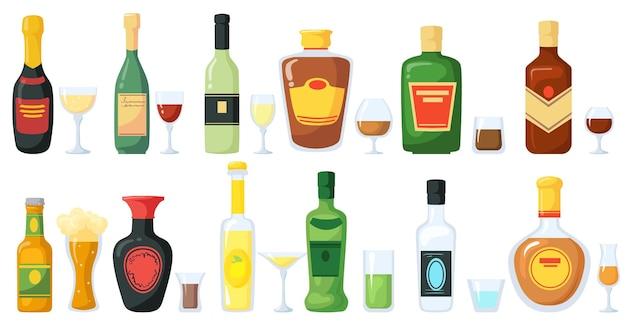 Botellas de bebidas alcohólicas con ilustración de vasos