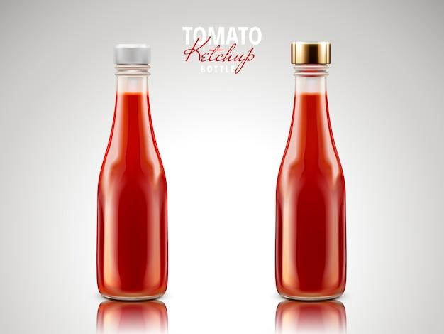 Botellas en blanco que contienen salsa de tomate ketchup