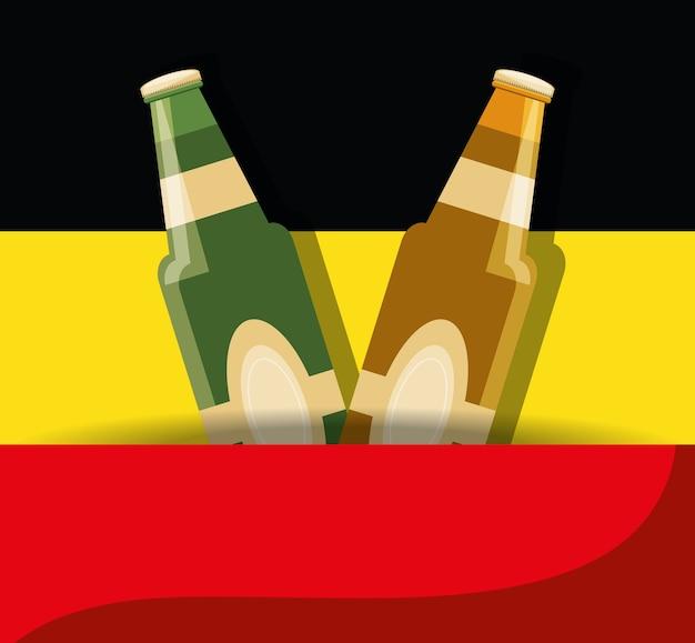 Botellas de cerveza alemana sobre la bandera de alemania