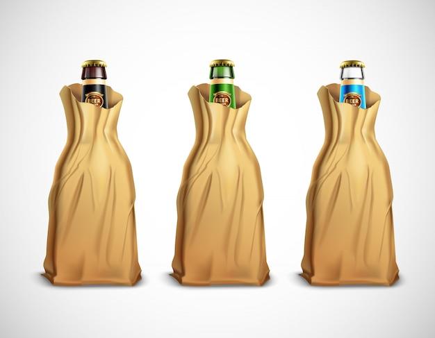 Botellas de cerveza en bolsas de papel