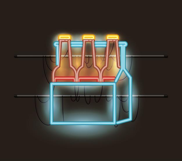 Botellas de cerveza en cesta de luz de neón.