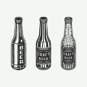 Botellas de cerveza o botellas de bebida retro vintage se pueden utilizar como emblema