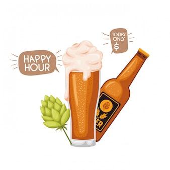 Botellas de cerveza y vidrio icono aislado
