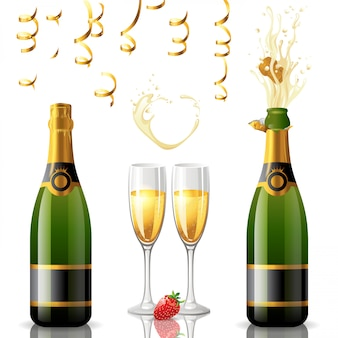 Botellas de champán con copa