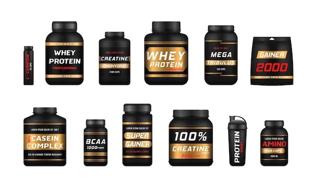 Botellas de comida deportiva y barritas proteicas. nutrición fitness, vitaminas, l-carnitina, cápsulas de caseína e hidro suero.