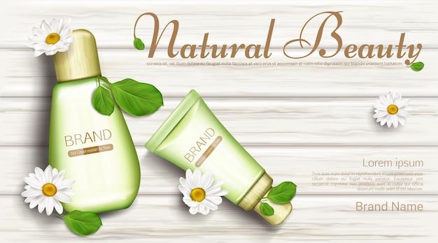 Botellas de cosmética natural con flores de manzanilla.