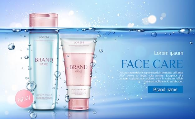 Botellas cosméticas de agua micelar y matorral, línea de productos cosméticos de belleza para el cuidado facial
