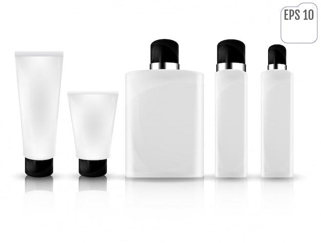 Botellas cosméticas blancas realistas
