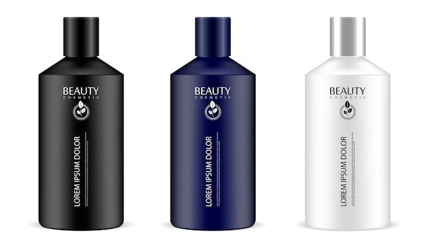 Botellas cosméticas cilíndricas en un set.