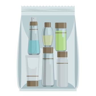 Botellas de cosméticos en bolsa de plástico.