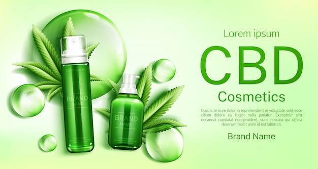 Botellas de cosméticos cbd con burbujas y hojas
