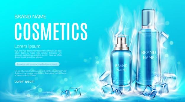 Botellas de cosméticos en cubitos de hielo seco